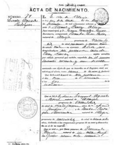 certificado de nacimiento Huelva